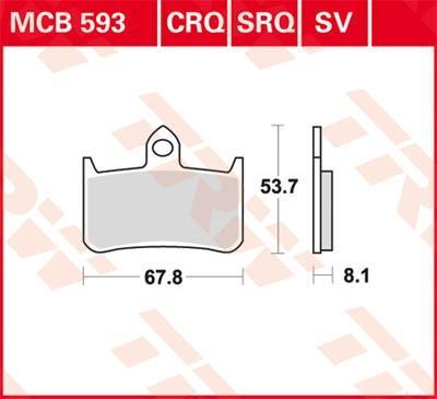 Moto TRW Sinter Street Hoogte: 53,7mm, Dikte: 8,1mm Remblokkenset, schijfrem MCB593SV koop goedkoop