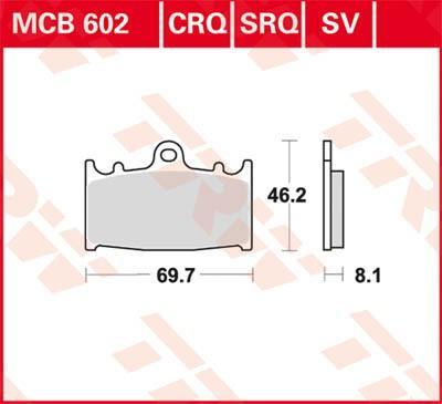 TRW Organic Allround Bromsbeläggssats, skivbroms MCB602 KAWASAKI