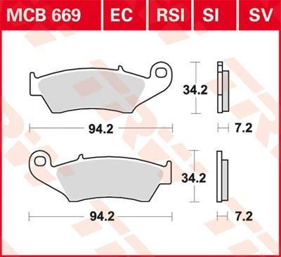 Moto TRW Organic Allround Wys.: 34.2[mm], Grubość: 7.2[mm] Zestaw klocków hamulcowych, hamulce tarczowe MCB669 kupić niedrogo