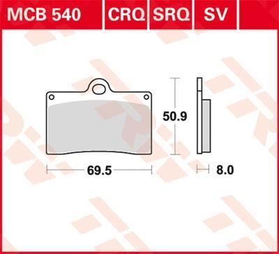Moto TRW Organic Allround Wys.: 50,9[mm], Grubość: 8[mm] Zestaw klocków hamulcowych, hamulce tarczowe MCB540 kupić niedrogo