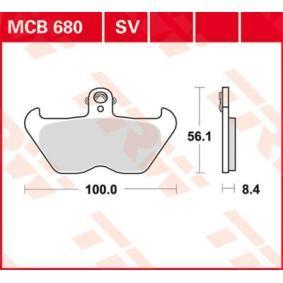 Comprar moto TRW Sinter Street Altura: 56,1mm, Espesor: 8,4mm Juego de pastillas de freno MCB680SV a buen precio