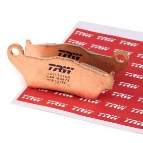 Comprar moto TRW Sinter Street Altura: 36,2mm, Espesor 1: 8,6mm, Espesor 2: 10,1mm Juego de pastillas de freno MCB707SH a buen precio