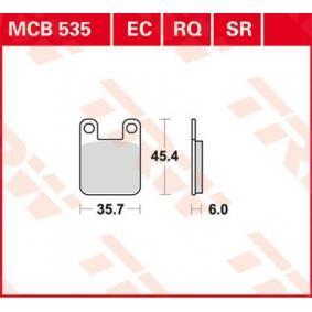 Comprar moto TRW Organic Low Budget Altura: 45,4mm, Espesor: 6mm Juego de pastillas de freno MCB535EC a buen precio