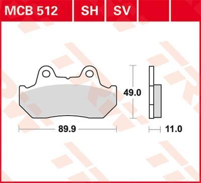 Moto TRW Sinter Street Výška: 49mm, Tloušťka/síla: 11mm Sada brzdových destiček, kotoučová brzda MCB512SV kupte si levně