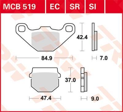 Koop nu Remblokkenset, schijfrem MCB519SR aan stuntprijzen!