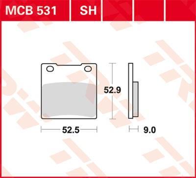 Stabdžių trinkelių rinkinys, diskinis stabdys MCB531SH su nuolaida — įsigykite dabar!