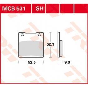 Pirkti moto TRW Sinter Street aukštis: 52,9mm, storis: 9mm Stabdžių trinkelių rinkinys, diskinis stabdys MCB531SH nebrangu