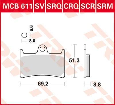 Moto TRW Hyper Carbon Racing Wys.: 51,3[mm], Grubość: 8,8[mm] Zestaw klocków hamulcowych, hamulce tarczowe MCB611CRQ kupić niedrogo