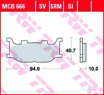 Комплект спирачно феродо, дискови спирачки TRW MCB666SV MT YAMAHA