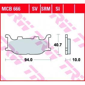 Купете мото TRW Sinter Street височина: 40,7мм, дебелина: 10мм Комплект спирачно феродо, дискови спирачки MCB666SV евтино