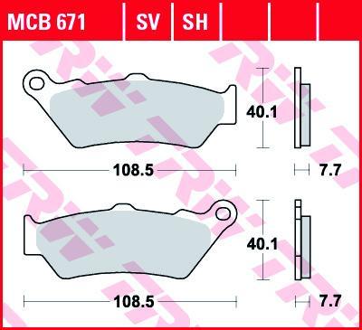Sada brzdových destiček, kotoučová brzda MCB671SV ve slevě – kupujte ihned!