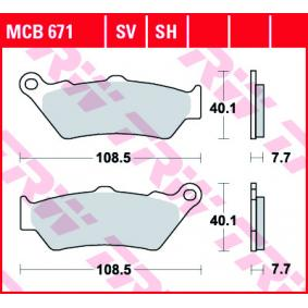 Moto TRW Sinter Street Height: 40,1mm, Thickness: 7,7mm Brake Pad Set, disc brake MCB671SV cheap