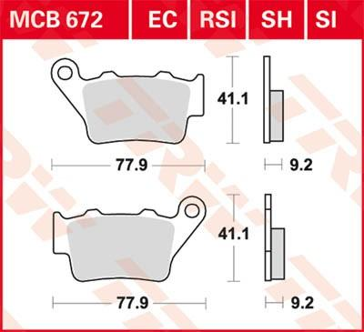 Sada brzdových destiček, kotoučová brzda TRW MCB672SH CB (CB 1 - CB 500) HONDA