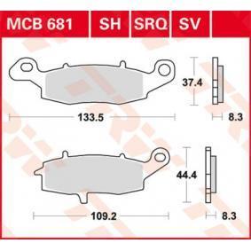 Achat de Moto TRW Sinter Street Hauteur 1: 37,4mm, Hauteur 2: 44,4mm, Épaisseur: 8,3mm Kit de plaquettes de frein, frein à disque MCB681SV pas chères
