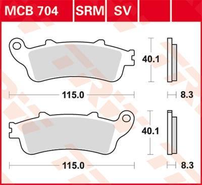 Pirkti moto TRW Sinter Street aukštis: 40,1mm, storis: 8,3mm Stabdžių trinkelių rinkinys, diskinis stabdys MCB704SV nebrangu