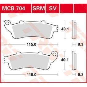 Osta mootorratas TRW Sinter Street Kõrgus: 40,1mm, Jämedus/tugevus: 8,3mm Piduriklotsi komplekt, ketaspidur MCB704SV madala hinnaga