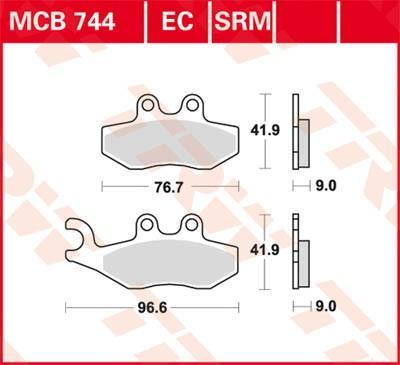 TRW Organic Allround Bromsbeläggssats, skivbroms MCB744 VESPA