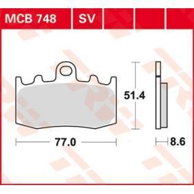 Osta mootorratas TRW Organic Allround Kõrgus: 51,4mm, Jämedus/tugevus: 8,6mm Piduriklotsi komplekt, ketaspidur MCB748 madala hinnaga
