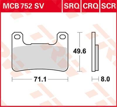 Remblokkenset, schijfrem TRW MCB752SV Z KAWASAKI