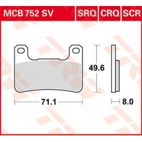 Moto TRW Sinter Street Wys.: 49,61[mm], Grubość: 8[mm] Zestaw klocków hamulcowych, hamulce tarczowe MCB752SV kupić niedrogo