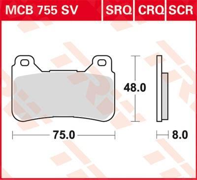 Moto TRW Hyper Carbon Racing Wys.: 46,7[mm], Grubość: 7,8[mm] Zestaw klocków hamulcowych, hamulce tarczowe MCB755CRQ kupić niedrogo