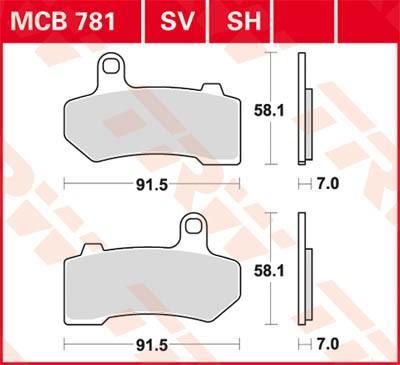 Stabdžių trinkelių rinkinys, diskinis stabdys MCB781SV su nuolaida — įsigykite dabar!
