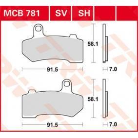 MCB781SV TRW Sinter Street Altura: 58,1mm, Espesor: 7mm Juego de pastillas de freno MCB781SV a buen precio