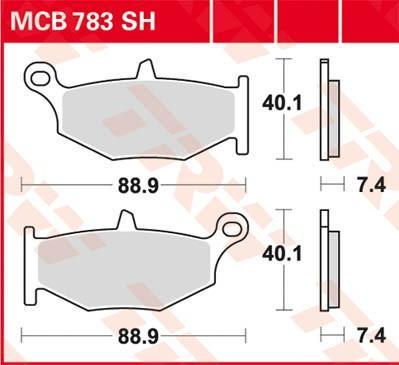Комплект спирачно феродо, дискови спирачки TRW MCB783SH GSX-R SUZUKI