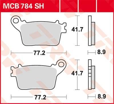Комплект спирачно феродо, дискови спирачки TRW MCB784SH CBR HONDA