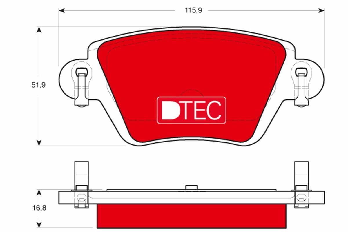 23557 TRW DTEC COTEC mit akustischer Verschleißwarnung, mit Bremssattelschrauben, mit Zubehör Höhe: 51,9mm, Dicke/Stärke: 16,8mm Bremsbelagsatz, Scheibenbremse GDB1525DTE günstig kaufen