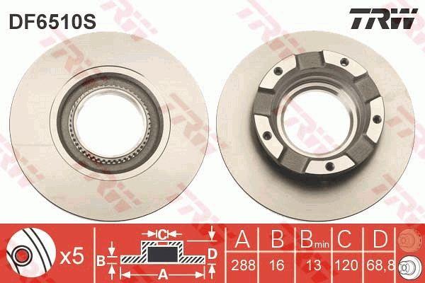 DF6510S TRW Voll, lackiert Ø: 288mm, Lochanzahl: 5, Bremsscheibendicke: 16mm Bremsscheibe DF6510S günstig kaufen