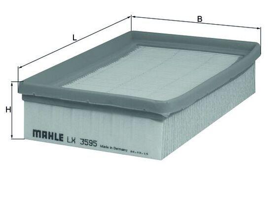 Moto MAHLE ORIGINAL Vložka filtru Celková délka: 172,0mm, Délka: 115,0mm, Šířka: 115, 115,0mm, Výška: 40mm Vzduchový filtr LX 3595 kupte si levně