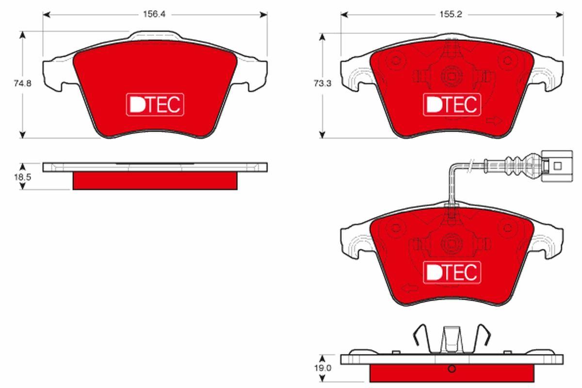23835 TRW DTEC COTEC inkl. Verschleißwarnkontakt Höhe 1: 74,8mm, Höhe 2: 73,3mm, Dicke/Stärke 1: 18,5mm, Dicke/Stärke 2: 19,0mm Bremsbelagsatz, Scheibenbremse GDB1721DTE günstig kaufen