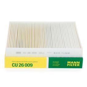 CU 26 009 MANN-FILTER Partikelfilter Breite: 235mm, Höhe: 32mm, Länge: 254mm Filter, Innenraumluft CU 26 009 günstig kaufen