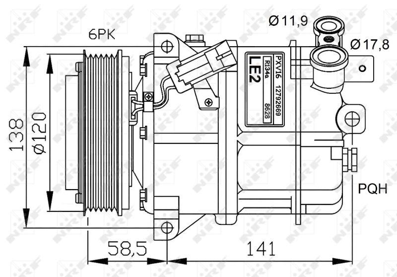 Ostaa 32774G NRF PAG 46, Kylmäaine: R 134a, PAG-kompressoriöljyllä Hihnapyöra-Ø: 120mm, Rihloja (kpl): 6 Ilmastoinnin kompressori 32774G edullisesti