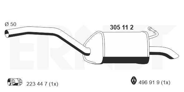 FORD S-MAX 2010 Endtopf - Original ERNST 305112 Länge: 1040mm, Länge: 1040mm