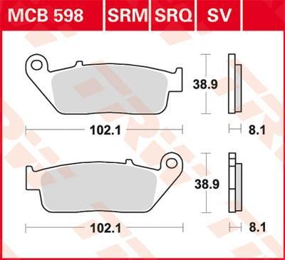 Σετ τακάκια, δισκόφρενα TRW MCB598SRM SH HONDA