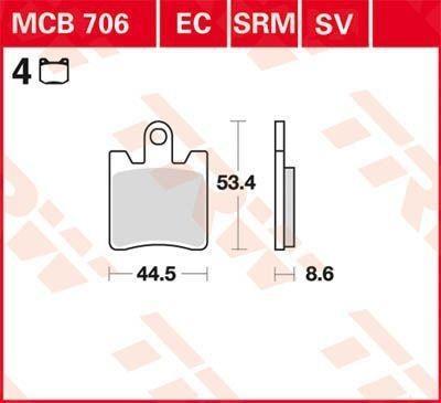 Remblokkenset, schijfrem MCB706SV met een korting — koop nu!