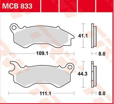 Remblokkenset, schijfrem TRW MCB833 NSC HONDA