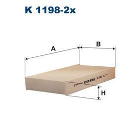 Filtr, wentylacja przestrzeni pasażerskiej K1198-2x w niskiej cenie — kupić teraz!
