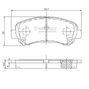 J3601096 NIPPARTS nicht für Verschleißwarnanzeiger vorbereitet Höhe: 58,7mm, Dicke/Stärke: 17,0mm Bremsbelagsatz, Scheibenbremse J3601096 günstig kaufen