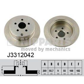 J3312042 NIPPARTS Voll, lackiert Ø: 269mm, Lochanzahl: 5, Bremsscheibendicke: 9mm Bremsscheibe J3312042 günstig kaufen