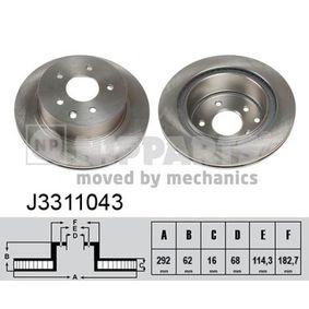 J3311043 NIPPARTS Innenbelüftet, lackiert Ø: 292mm, Lochanzahl: 5, Bremsscheibendicke: 16mm Bremsscheibe J3311043 günstig kaufen