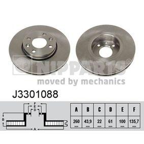 J3301088 NIPPARTS Innenbelüftet, lackiert Ø: 260mm, Lochanzahl: 4, Bremsscheibendicke: 22mm Bremsscheibe J3301088 günstig kaufen
