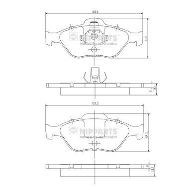 Bremsbelagsatz NIPPARTS J3603065