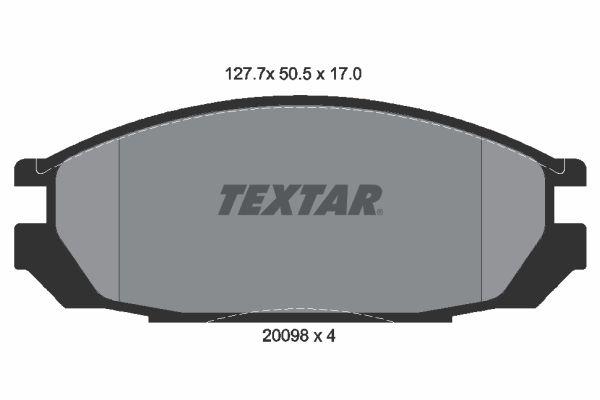 Origine Système de freinage TEXTAR 2009801 (Hauteur: 50,5mm, Largeur: 127,7mm, Épaisseur: 17mm)