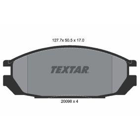 2009817004 TEXTAR exkl. Verschleißwarnkontakt Höhe: 50,5mm, Breite: 127,7mm, Dicke/Stärke: 17mm Bremsbelagsatz, Scheibenbremse 2009801 günstig kaufen