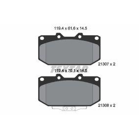 8298D1182 TEXTAR mit akustischer Verschleißwarnung Höhe 1: 70,1mm, Höhe 2: 61,6mm, Breite: 119,4mm, Dicke/Stärke: 14,5mm Bremsbelagsatz, Scheibenbremse 2130701 günstig kaufen