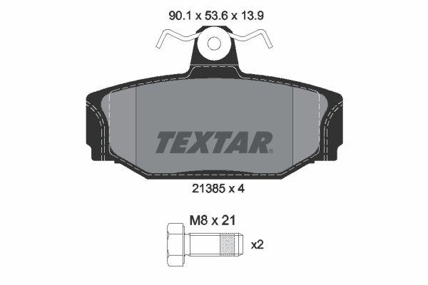 7279D391 TEXTAR exkl. Verschleißwarnkontakt, mit Bremssattelschrauben Höhe: 53,6mm, Breite: 90,1mm, Dicke/Stärke: 13,9mm Bremsbelagsatz, Scheibenbremse 2138501 günstig kaufen