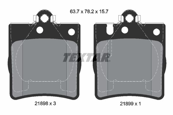 7784D873 TEXTAR für Verschleißwarnanzeiger vorbereitet Höhe: 78,2mm, Breite: 63,7mm, Dicke/Stärke: 15,7mm Bremsbelagsatz, Scheibenbremse 2189803 günstig kaufen